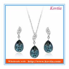 Africano azul cristal colar e brinco moda jóias conjunto