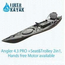 Kayak de asiento sencillo de barco con asiento cómodo (incluido el carro), motor disponible