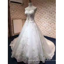 Diamant-Kristall Schatz lange Zug Brautkleid mit Schlüsselloch zurück
