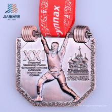 Médaille de dynamophilie faite sur commande de moulage en alliage d'alliage de bronze chaud avec le ruban