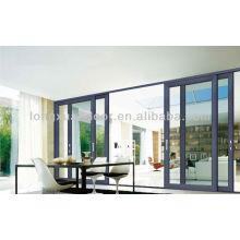Porta de tela grande ao ar livre, porta de vidro de liga de alumínio