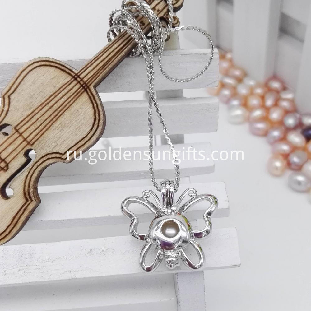 Real Pearl Butterfly Cage Pendant Necklace