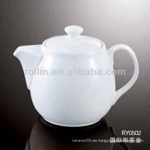 Jarra de agua saludable de porcelana blanca duradera con tapa