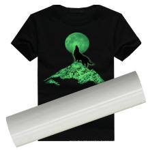 Angelacrox Luminescent PU Vinyl Glow in The Dark Thermal Heat Transfer Film Iron on for Custom Garment Sticker Clothing 2 Rolls