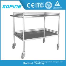 SF-HW1010 hospital ues carro de tratamiento médico de acero inoxidable
