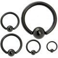 316L Steel Black Circular Captive Bead