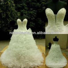 NW-395 Deep Sweetheart Neckline Organza vestido de noiva