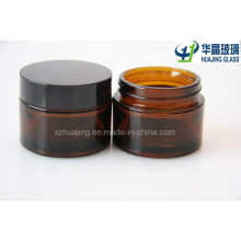50g Amber Cosmetic Packing Glass Cream Jar with Black Cap