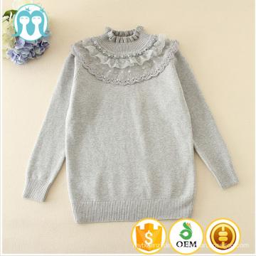 2017 neue ankunft pullover mädchen spitze shirt Prinzessin blumen nagel perlen stricken pullover für kinder und mädchen