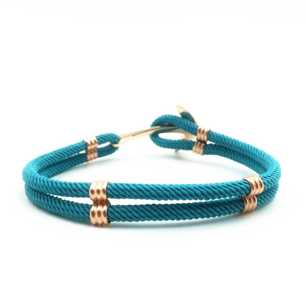 Stainless Steel Anchor Cotton Nylon Cord Bracelet