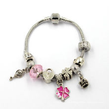 Cristal de cristal europeu Murano Beads Beit Fit Snake Chain encantos pulseira