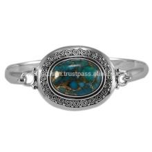 Blauer Kupfer Türkis Edelstein mit 925 Silber Handgefertigte Design Runde Armreif