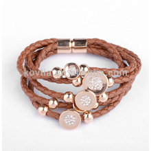 Fashionable braided leather bracelets for women