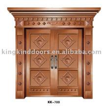 Алюминиевые двери KK-709 для большой стальная дверь с медной краской