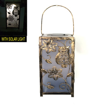 Garden Decoration Metal Square Owl Lantern Craft W. Solarlight