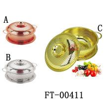 3 pièces en acier inoxydable acier or passoire avec couvercle (FT-00411)