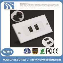 2-Port HDMI 1080P Wand Face Plate Panel Abdeckung Coupler Outlet Extender 3D White