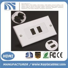 2-Port HDMI 1080P Wall Face Plate Panel Cover Coupler Outlet Extender 3D White