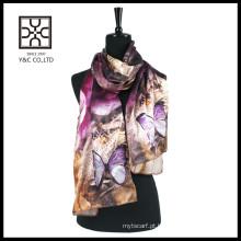 Moda impressão cachecol de seda digital de cetim