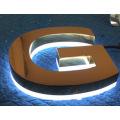 O negócio 3D retroiluminado impermeável exterior assina letras chapeadas cromo do metal