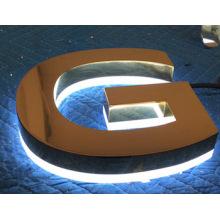 Открытый Водонепроницаемый 3D бизнес знаков с подсветкой хромированные металлические буквы