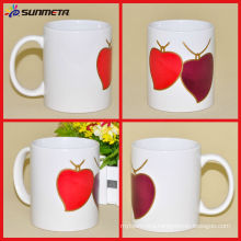 Yiwu Factory Heat Transfer Printing Heart Shape Sublimation Ceramic Magic Mug