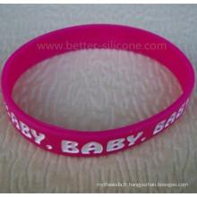 Debossed et bracelet de silicone rempli de couleur de logo pour la promotion