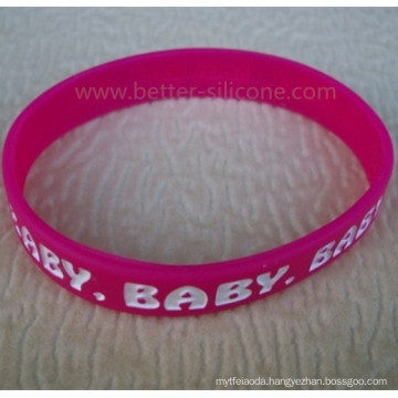 Debossed and Color Filled Logo Silicone Wristband for Promotion