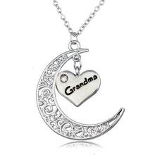 Colar de prata da lua colar Colar de prata colar da letra de 80 centímetros inicial