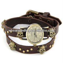 2014 Les plus récents 4 couleurs Classic Skull Design Lady Leather Bracelet montre hommes 2014
