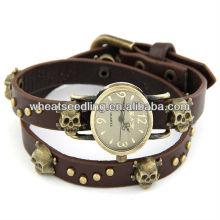 2014 Новые 4 цвета Классический Череп Дизайн Lady Leather Bracelet мужчины смотреть 2014
