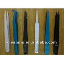 Pointe pointue ESD Safe snap Brucelle, pince en plastique, jetable, blanc / noir / bleu