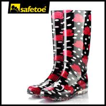 Mulheres botas de chuva de plástico para mulher, pvc botas de chuva transparente W-6040D