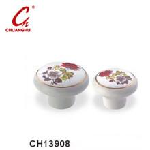 Popular Ceramic Knob Handles with Flower Pattern (CH13908)