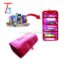 Toiletry Travel Bag Case - Roll up Organizer: Cosmetics, Jewelry, Accessories, Electronics
