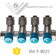 EM-F-B025 Brass compression 6 way manifold with valve