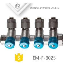 EM-F-B025 Manifold de 6 vias de compressão de latão com válvula