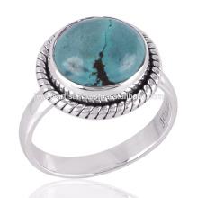 Очень Красивая Стерлингового Серебра 925 Натуральный Тибетский Бирюзовый Камень Ювелирные Изделия