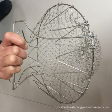 Stainless Steel Expandable Foldable Fry Mesh Basket Strainer Net For Kitchen Cooking Tool