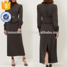 Новая мода темно-серый высокая шея Миди платье с поясом Производство Оптовая продажа женской одежды (TA5225D)