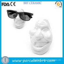 Laughing Face Funny Teeth Design Ceramic Reading Glasses Holder
