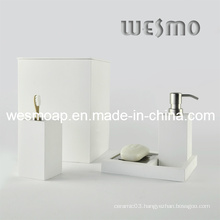 White Washed Finish Bamboo Bath Set (WBB0301D plus waste bin)