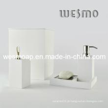 Branco lavado acabamento conjunto de banho de bambu (WBB0301D mais lixo)