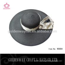 Billige schwarze Damen Strohhüte große Krempe Floppy Hut