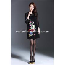 2016 otoño vestido de mezclilla de manga larga Las mujeres de estilo chino impresas bordado vestido capas