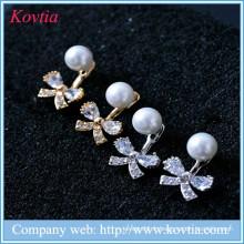 Seattle seahawks charms zircon bowknot boucles d'oreilles en perles de perles blanches