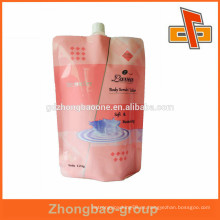 Laminado de tres capas de plástico de pie hasta la bolsa de pico para el cuidado de la piel de cuidado de embalaje