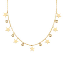 Wholesale Gold Plated Stainless Steel Initial Diamond Star Charms Pendant Necklace Jewelry