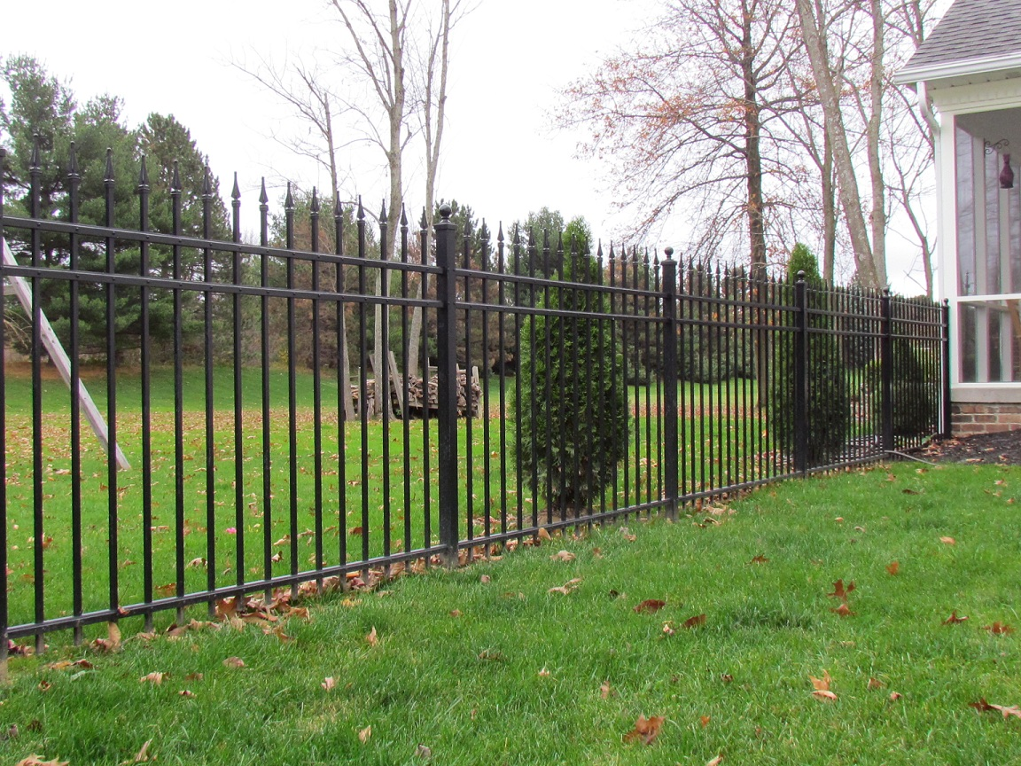 Black powder coated zinc steel fence