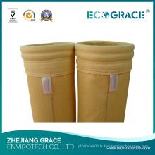 Chaussette filtrante de collecteur de poussière de tissu de résistance d'alcalis de P84